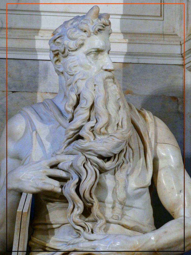 The beauty  of this magical and spiritual  image created  in white  Carrara  Marble portrait  the deep look of Moses his connection with God.