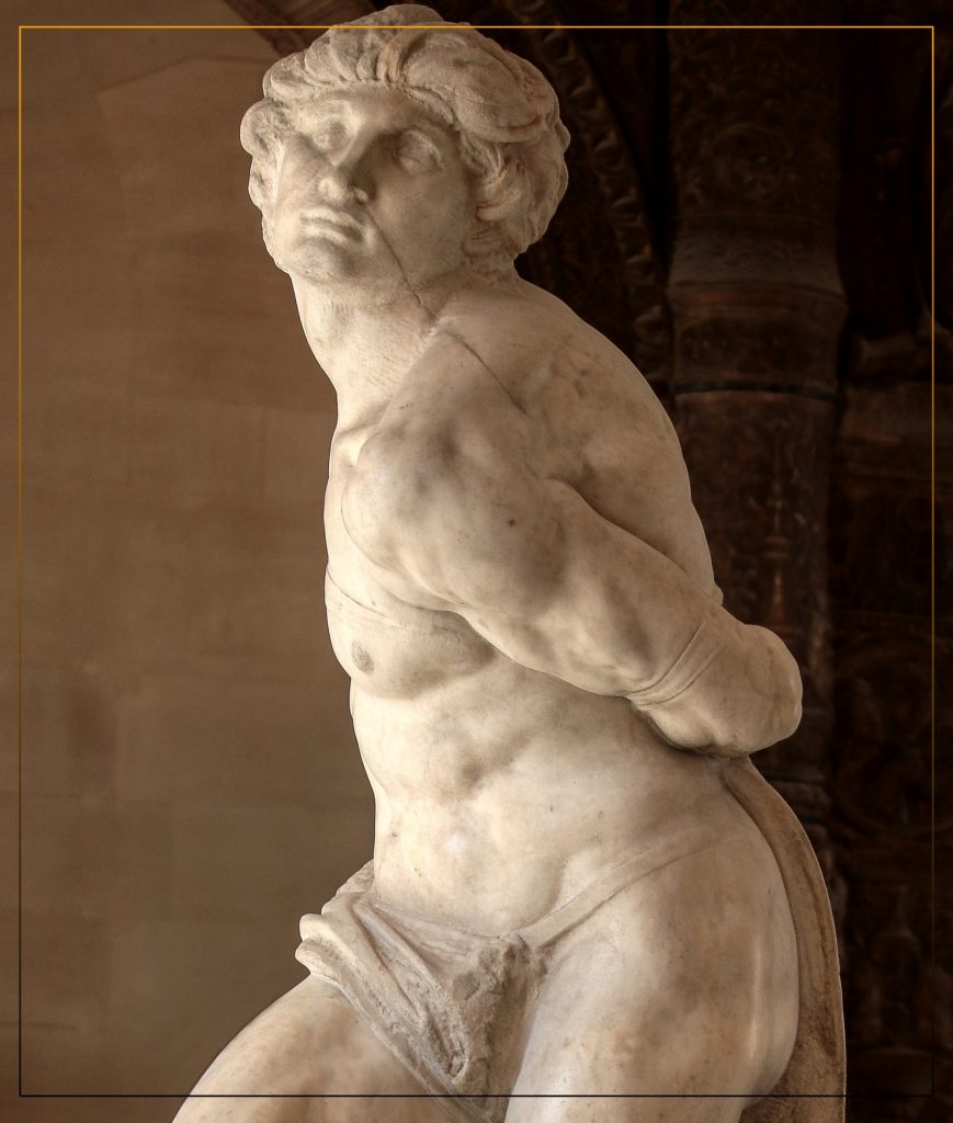 One of greatest Art  Sculptures  of MichaelAngelo  the Rebellious  Slave created in white Carara marble