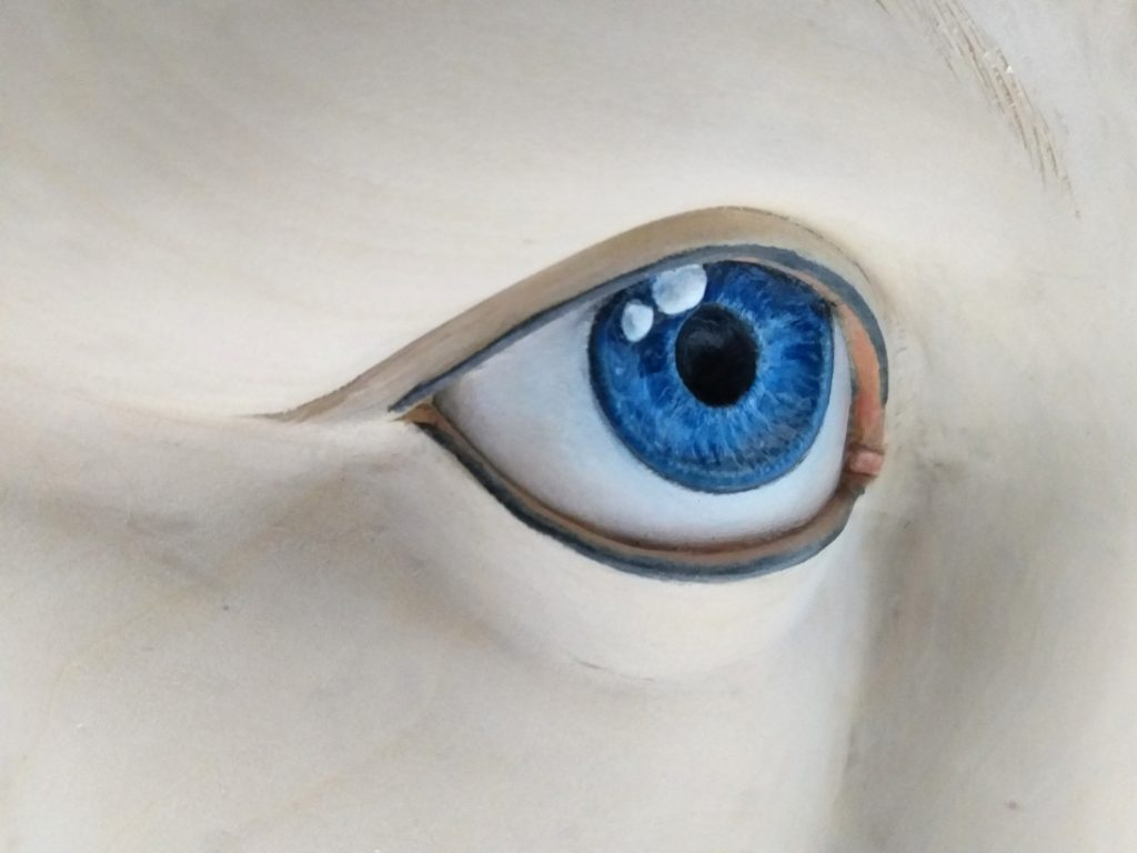 Wood Carving A Human Eyes
